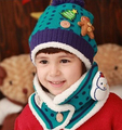 New Fashion Winter Warm Kid Caps Baby Girl Boy Ear Thick Knit Beanie Hat+scarf Cute Christmas snowman Cap