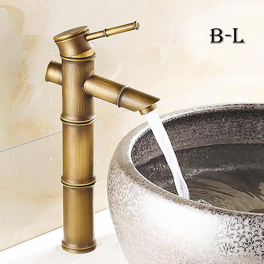 Европейский античный кран для ванной комнаты, латунный кран для раковины, высокий бамбуковый кран для горячей и холодной воды с двумя трубами, кухонный уличный садовый кран - Цвет: B-L