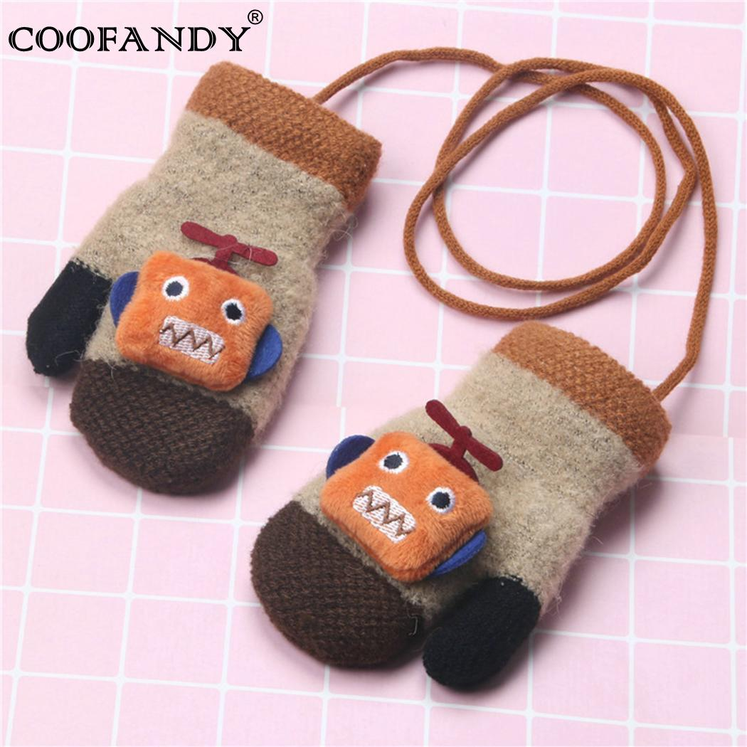 Halter Kids Gloves Cartoon Pattern Contrast Color Haling Hands Gloves Winter