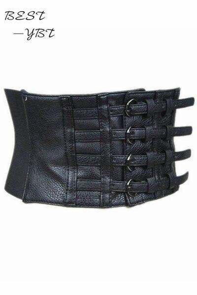 Nouvelle mode 2018 femmes faux cuir ceinture pin up rétro élastique large  taille ceinture pour femmes noir faux cuir ceinture corset top dans  Ceintures et ... 8e0fbee9755