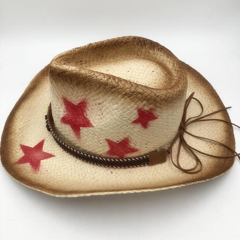 2535734454a 2018 Summer Men Raffia Jazz Hats Mens American Western Cowboys Straw ...