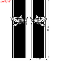 2X Skeleton Fish Truck Bed Sidefishing Flags Graphics Car Decals Vinyl Stickers