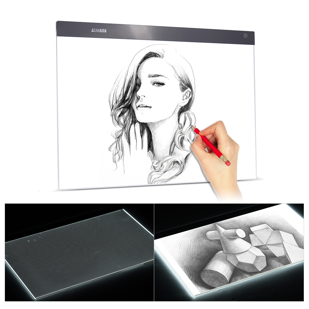A2 Ultra thin LED Light Pad Box Painting Tracing Panel Copy Board Stepless for Cartoon Tattoo Tracing Drawing X Ray Viewing-in Digital Tablets from Computer & Office    1
