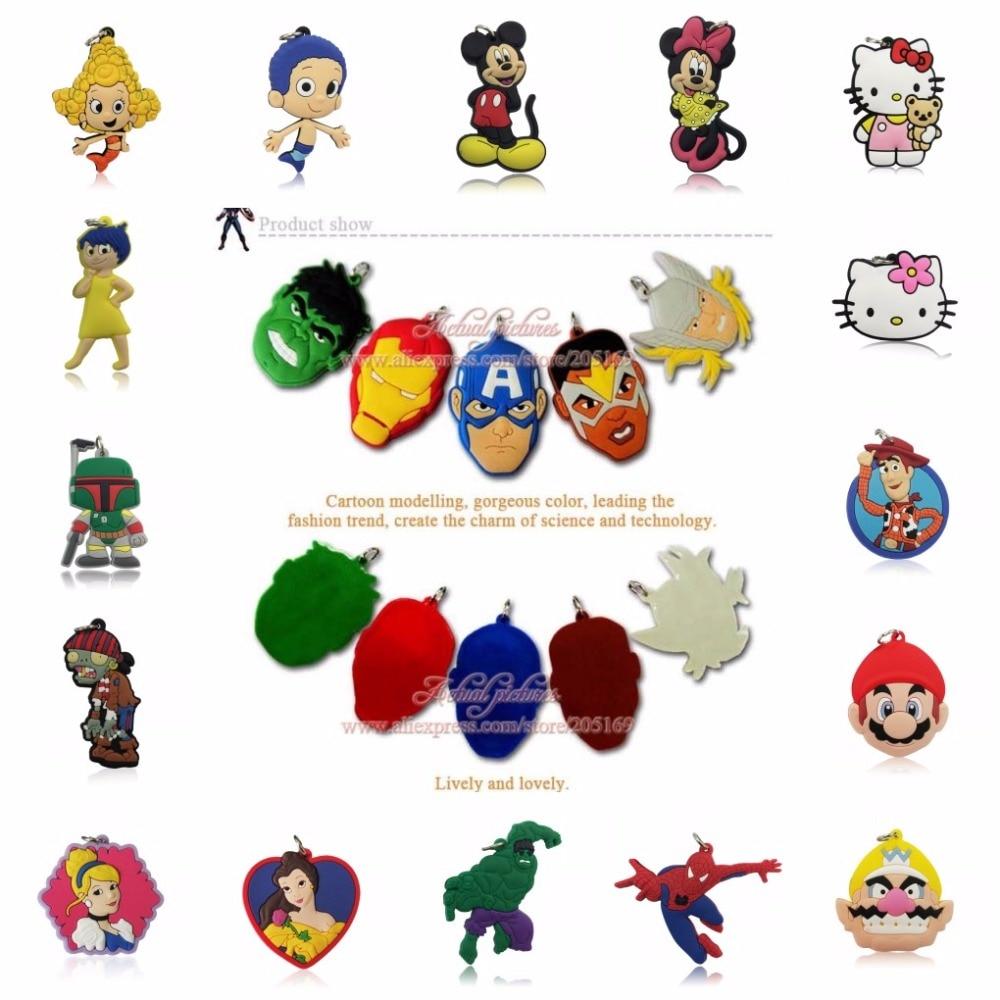 500PCS PVC Cartoon Avenger Princess Pendant Kid Anime Figure Mickey Star Wars Pendant Fit for Necklace