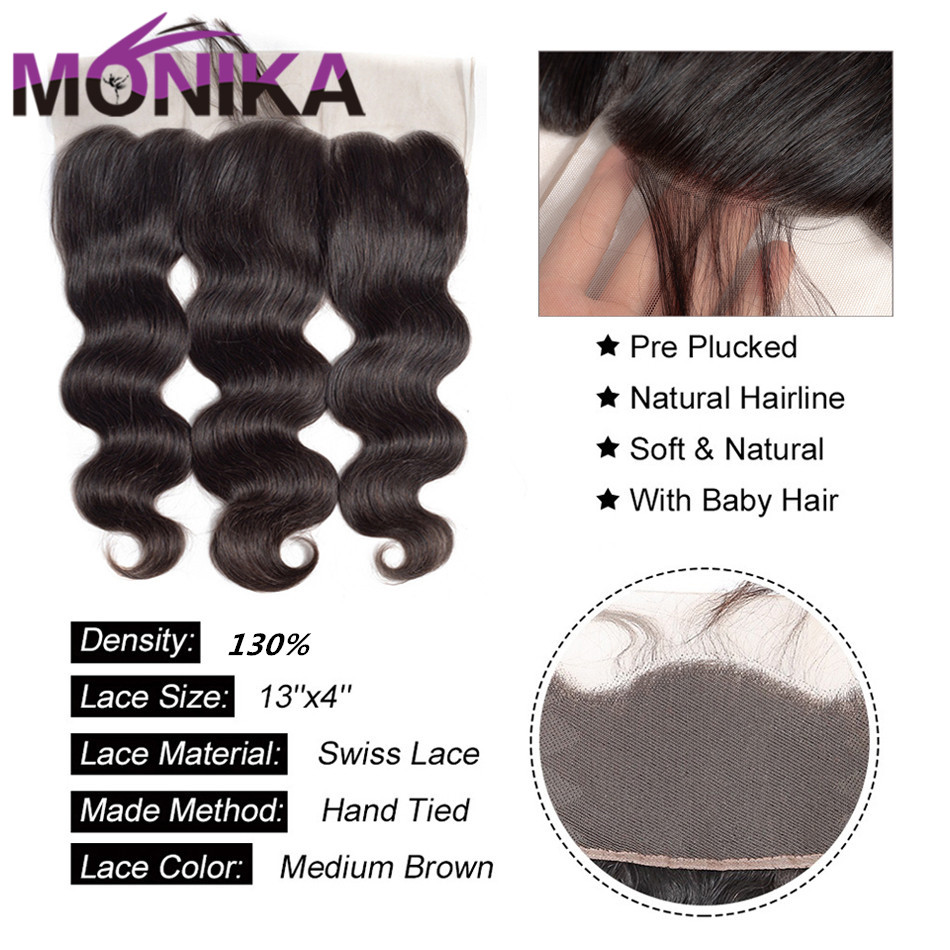 Monika Hair Indian Body Wave 13x4 Lace Frontal FreeMiddleThree Part Ear to Ear Non Remy Human Hair Pre Plucked Lace Closure (2)
