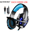 KOTION CADA USB G9000 Led Gaming Auriculares con Micrófono 7.1 Surround Sound Auriculares Juego Auricular LLEVÓ la Luz para PC Gamer