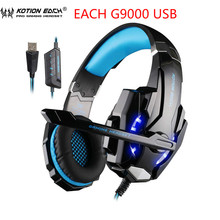 KOTION CADA USB G9000 Led Gaming Auriculares con Micrófono 7.1 Surround Sound Auriculares Juego Auricular LLEVÓ la Luz para PC Gamer