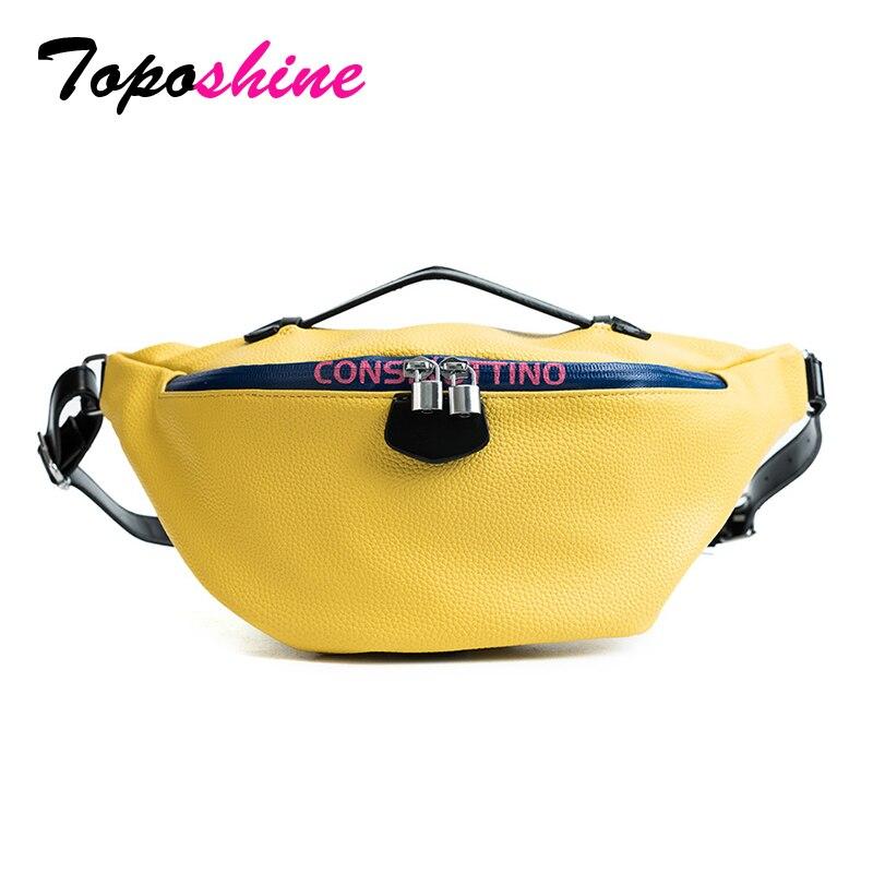 Toposhine Women Waist Packs Bag Large Capacity Fashion Waist Bags Women Top Quality PU Leather Shoulder Bags Ladies Waist Bags smocked waist floral peplum top