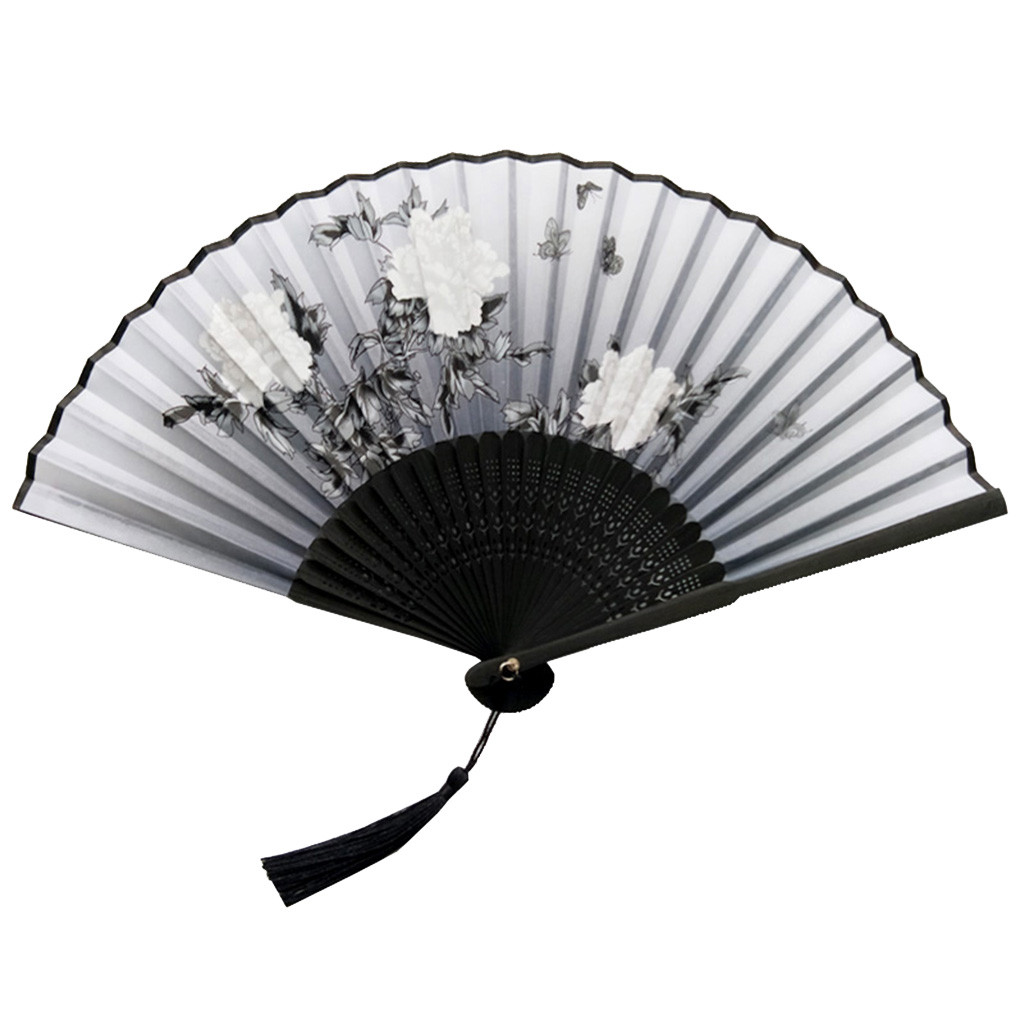 Folding Fans Handheld Fans Bamboo Fans Women's Hollowed Bamboo Hand Holding Fan(China)