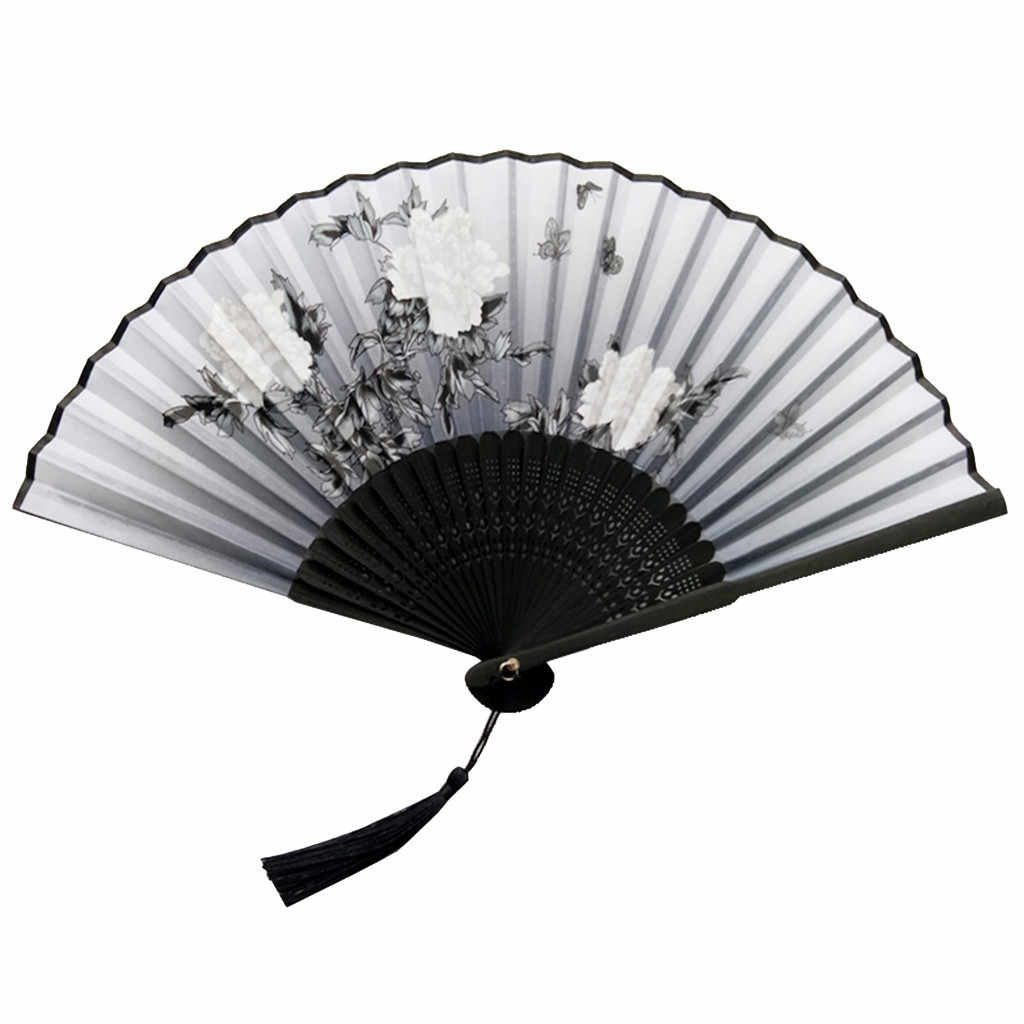 chinese Folding Fans hand held fan Bamboo Fans Women's Hollowed Bamboo Hand Holding Fan wedding fans manual showgirl