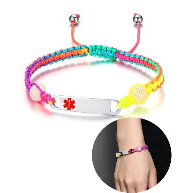 Engraved Medical Alert ID Rope Bracelet Rainbow Bangle Stainless Steel Childrens Womens Mens