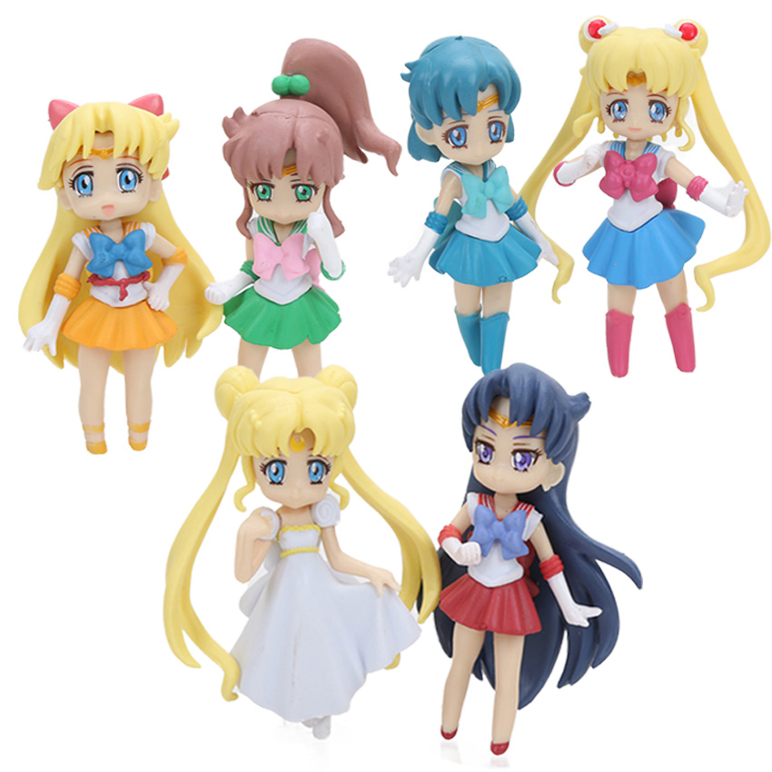 Mini 6pcs Sailor Moon Figures Set Sailor Mars Sailor Tsukino Usagi Serenity Venus Jupiter Mercury Collectible Model Doll Figuren