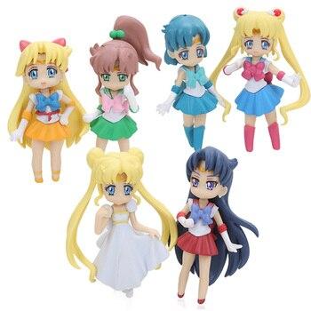 Mini 6pcs Sailor Moon Figures Set Sailor Mars Sailor Tsukino Usagi Serenity Venus Jupiter Mercury Collectible Model Doll Figuren