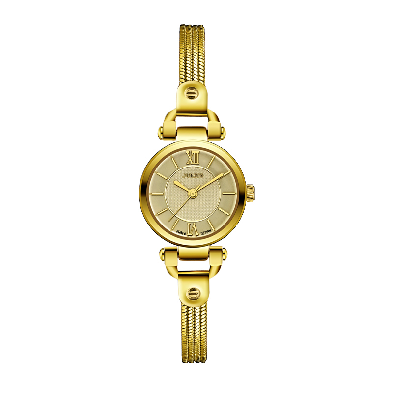 цена Julius Women Watches Designers Brass Bracelet Copper Case Ladies Rose Gold Watches Famous Watch Style Vintage Watch Clock JA-842