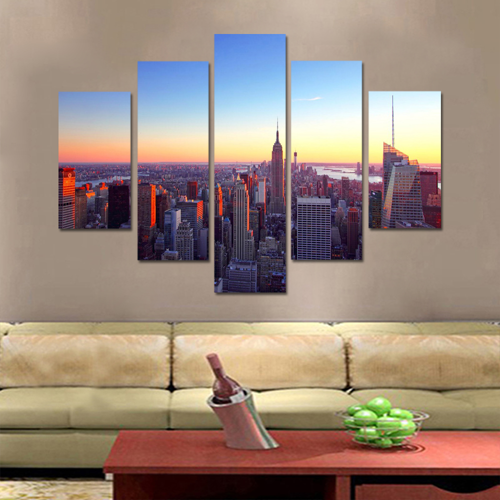 Unframed 5 HD Canvas Prints Urban Architecture Landscape Living Room Decoration Mural Module Art Spray Painting Unframed