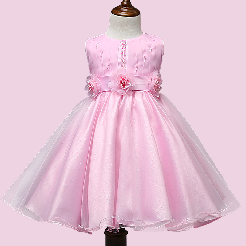 цены  Hot Sale Summer/Spring Pink Color Girl Clothing Sleeveless Big Bow Party O-neck Flower Beading Children Girls Princess Dress