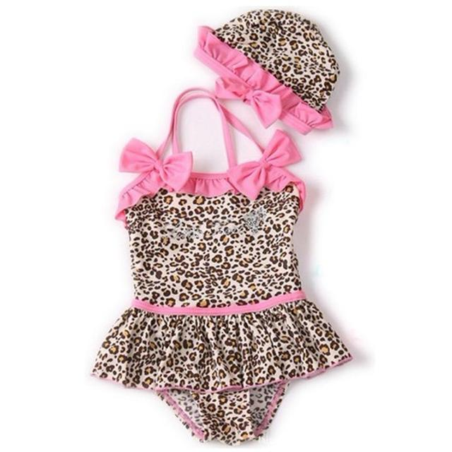 6ca5c0e80f92b Top sale summer fashion swim wear Baby Girls Bath Suit Kids One-Piece  Leopard Print Swimsuit Bikini clothing sets