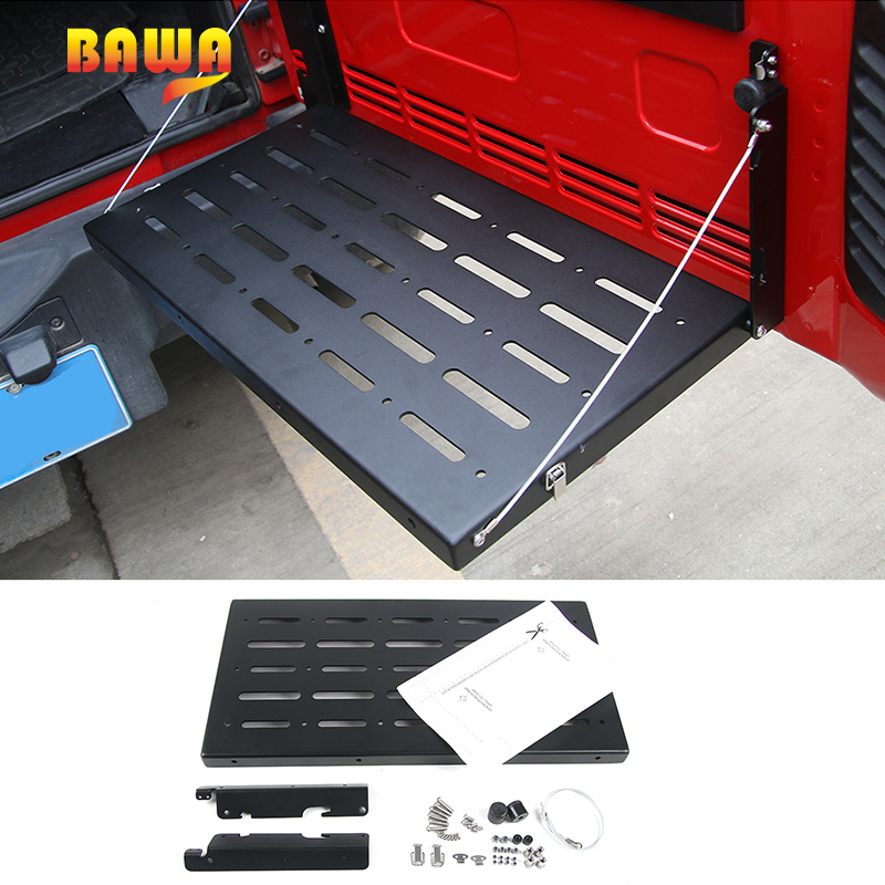 BAWA Matel Tailgate Storage Racks for Jeep Wrangler JK 2007-2017 Accessories Multi-Purpose Flexible Tailgate Table