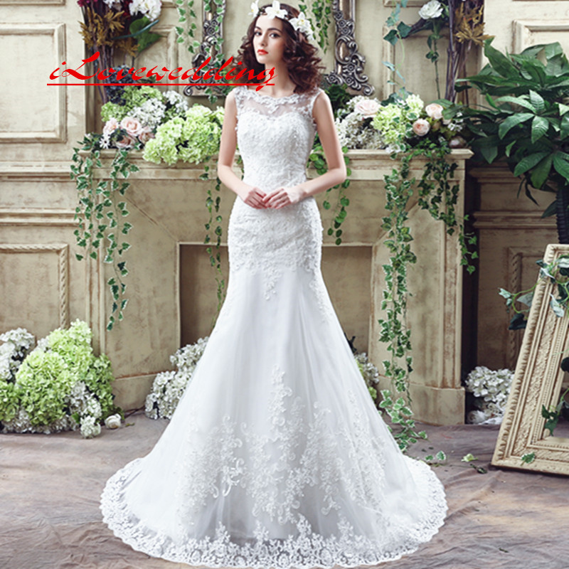 Sexy Lace Mermaid Wedding Dresses For Women Backless In Stock 2019 Appliques Illusion Bodice Bridal Dress Gown Vestido De Noiva