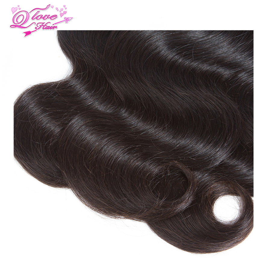 Queen Love Hair Malaysia Body Wave Human Hair Bundles With Closure 3 Bundles With Closure Natural Color Remy Hair Extension