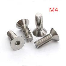 100 pçs/lote M4 * 6/8/10/12/16/20/25/30/ 35/40/45/50/55/60/70/80 DIN7991 hexagonal de aço Inoxidável parafuso de cabeça rebaixada plana