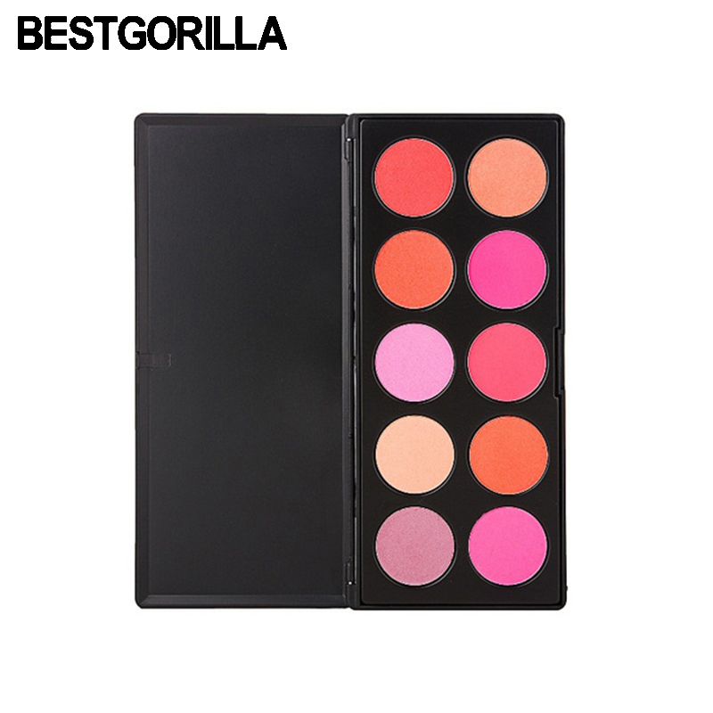 BESTGORILLA 10 Colors Blusher Makeup Cosmetic Blush Powder Palette Pink Rose Peach Cora ...