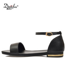 Daitifen Fashion women Flat Sandals Genuine Leather shoes Cover Heel Ankle Buckle Flat shoes Lady Solid Casual Outdoor Sandals