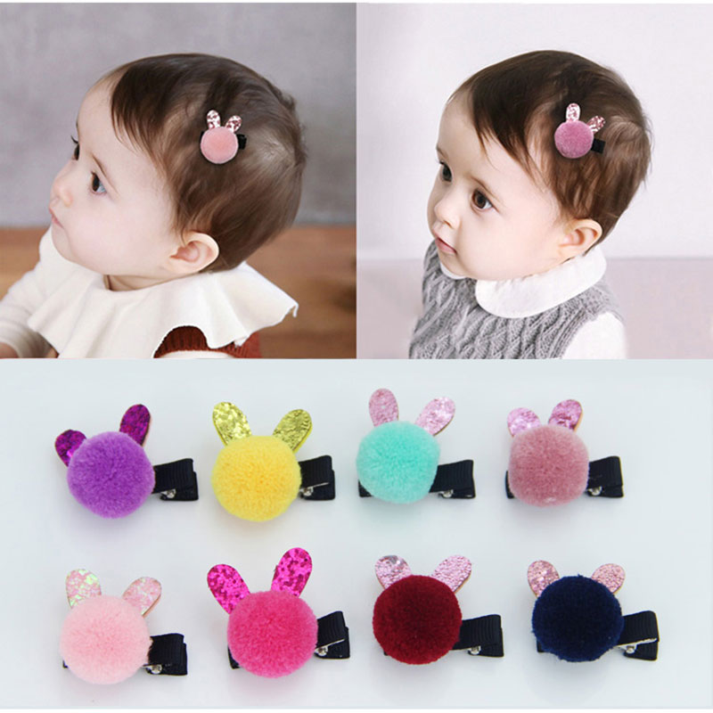 Cartoon Colored Pom Balls Hair Pins Girls Baby Cute Small Rabbit Ears Hair Clips Kids Headwear Princess Hairpins Hair Accessory