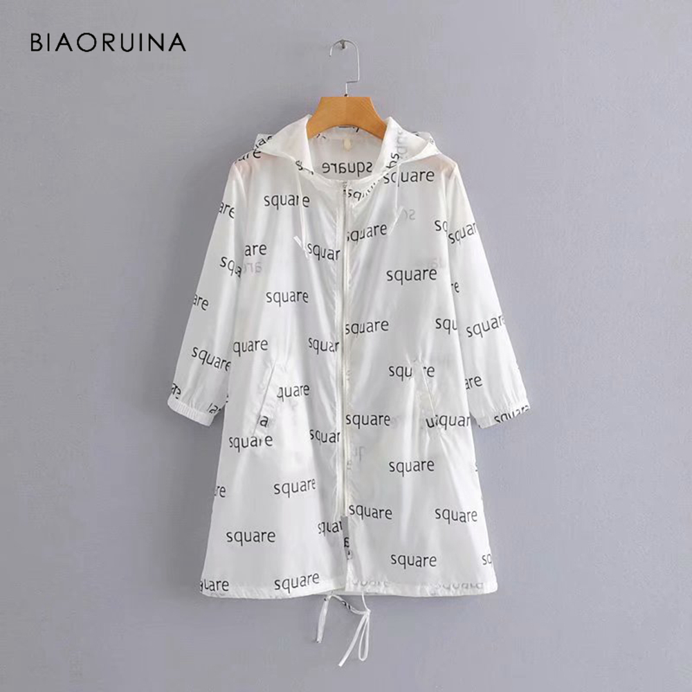 BIAORUINA Women Casual Letter Printed Long   Trench   Female Fashion Sunscreen Hooded Streetwear Women's Loose Outerwear Coats