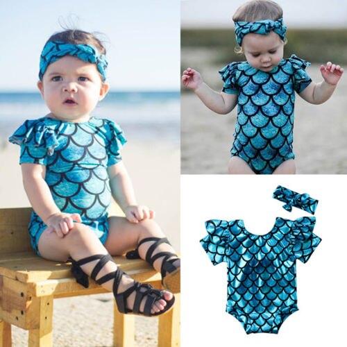 Summer 2018 Kids Toddler Bikini Baby Girls Blue Mermaid Swimsuit Headband Bowknot Swimwear Bathing Outfits