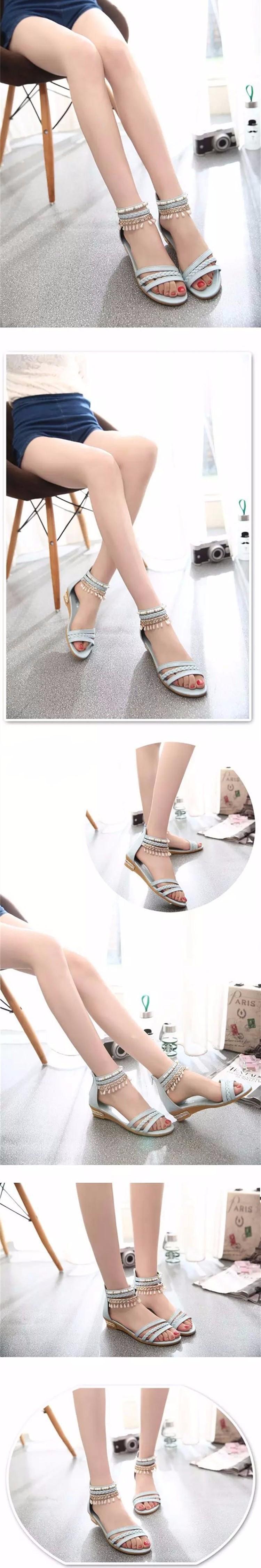 Hot Sale 2016 Summer Sweet Fashion Roman Beads Woman Sandals Leisure Peep Toe Wedges Shoes Wild Comfortable Ladies Sandals DT141 (7)