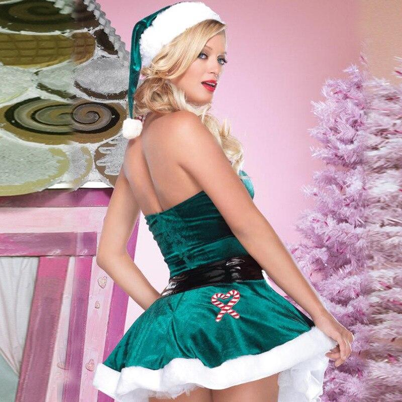 Verde mujeres señora Navidad Elf Vestido de manga corta + sombrero ...