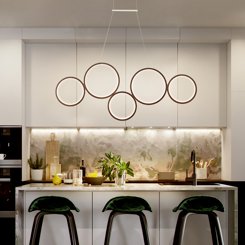 Simple 5/3 Rings Pendant Lights For Dining Room Bar White/Brown suspension luminaire Home Deco Hanging Dimming+RC Pendant LampSimple 5/3 Rings Pendant Lights For Dining Room Bar White/Brown suspension luminaire Home Deco Hanging Dimming+RC Pendant Lamp