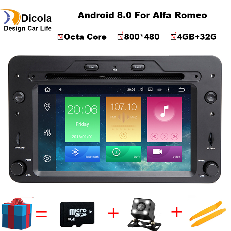Android 8.0 One Din 6.2 Inch Car DVD Player For Alfa/Romeo/Spider/Brera/159 Sportwagon CANBUS 4 GB RAM GPS Navigation Radio