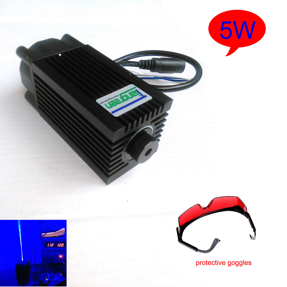 5w 450nm blue laser engraving machine parts cutting TTL module 5000mw laser tube