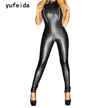 YUFEIDA Sexy Shiny Faux Leather Bodysuit Catwomen Women Party Fancy Black Erotic Latex Catsuit Fetish Costume Bodycon Jumpsuit
