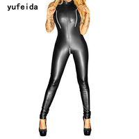 YUFEIDA Sexy Shiny Kunstleder Body Catwomen Frauen Party Phantasie Schwarz Erotic Latex Catsuit Fetisch Kostüm Bodycon Jumpsuit
