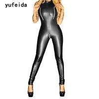 Yufeida sexy brillante imitación de cuero traje catwomen lujo del Partido de las mujeres negro látex fetiche traje bodycon jumpsuit