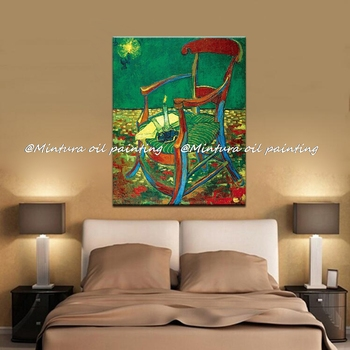 Gauguin's Chair Of Vincent Van Gogh 100% Hand Made High Q. Reproduction Oil Painting On Canvas Wall Art Picture For Living Room