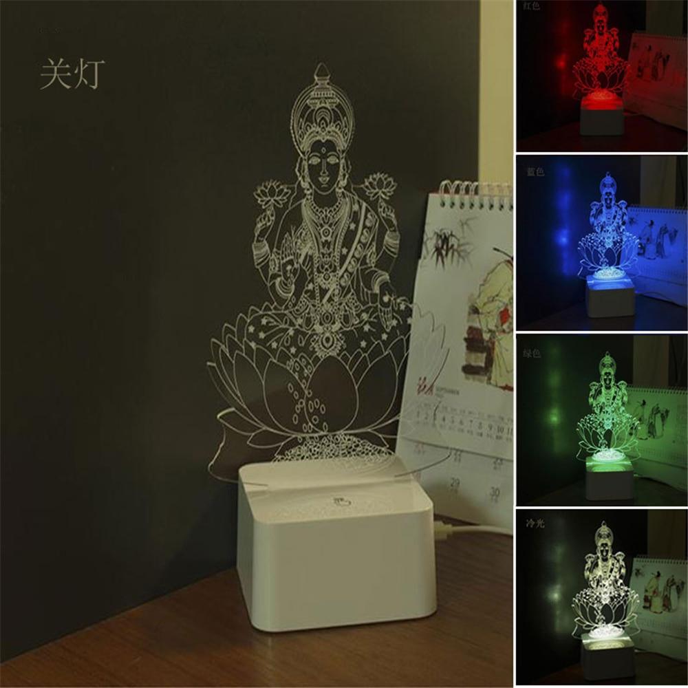 Buy led night lamp online india - 3d Led Desk Lamp Table Light Night Light India God Lakshmi Shaped Usb Powered Novel Engraved