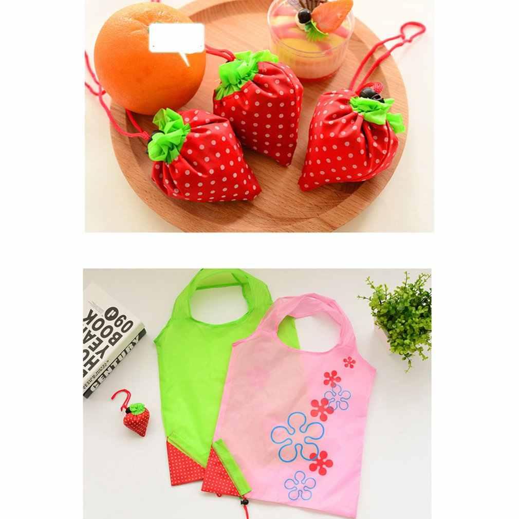 Нейлон форма клубники складные сумки для покупок многоразовая эко-Бакалея сумка для хранения и транспортировки Сумка-тоут Сумки из натуральной кожи