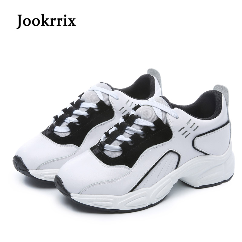 Jookrrix 2018 Spring New Fashion Lady Casual White Shoes Women Sneaker Girl Leisure Thick Soled Shoes Lace Up Flats Cross-tied