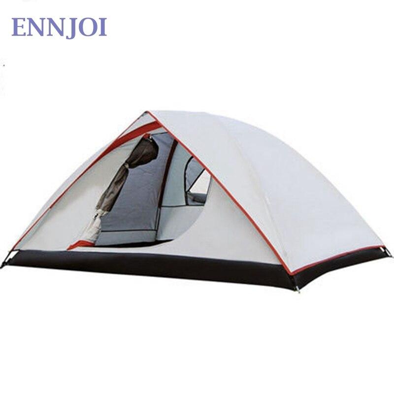2 personne imperméable à l'eau coupe-vent 190 T PU Camping tente Double couche en plein air randonnée sac à dos ultraléger famille Camping tente