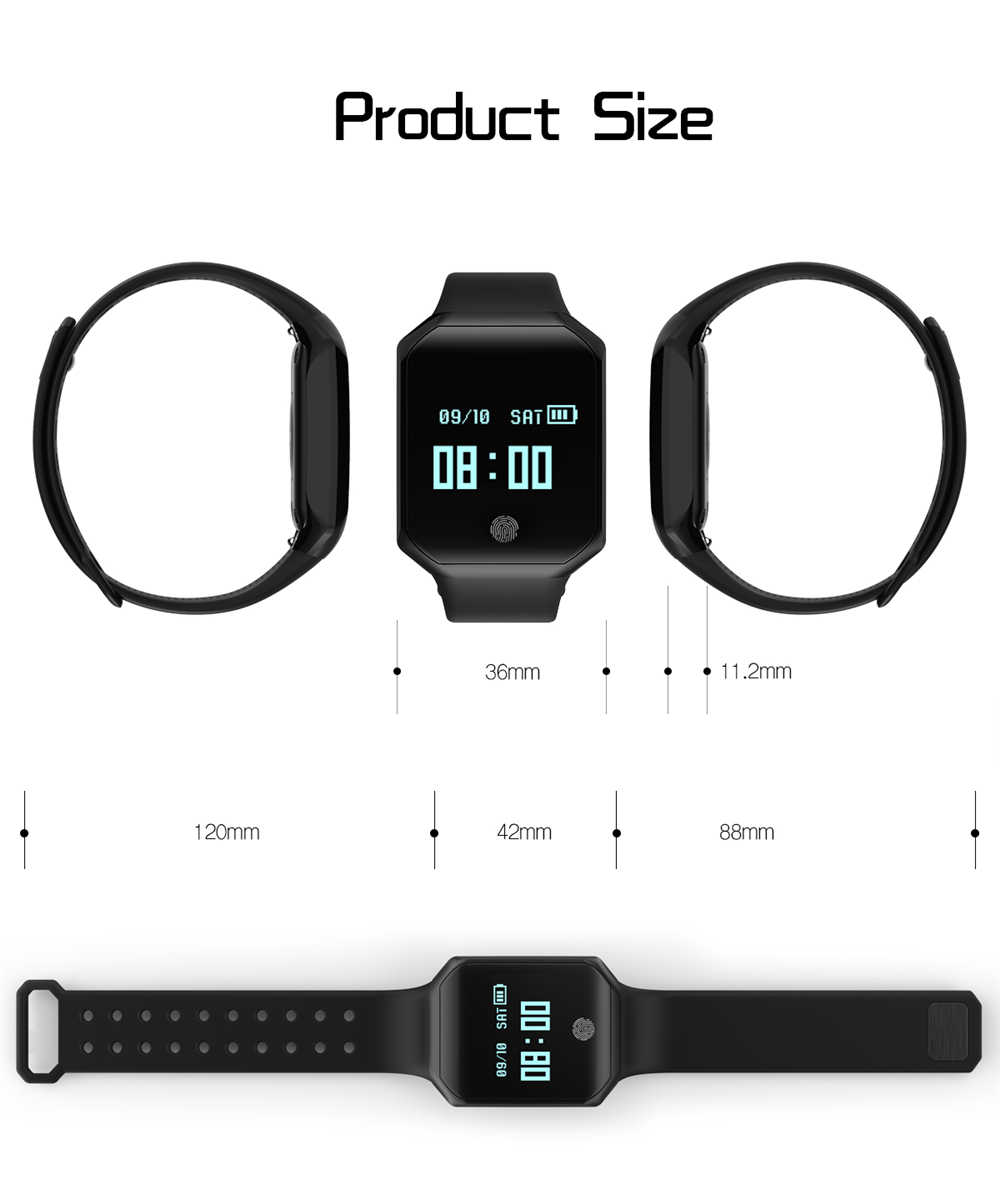 Smart Watch Bracelet z66 Fitness Tracker Heart Rate Blood Pressure Pulse  Monitor Wristband Waterproof Band IOS Android