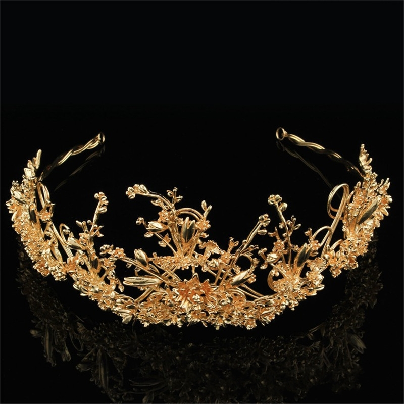 Sweet Hair Ornaments Bridal Hair Crown Jewelry Gold Branches Headdress Hair Hoop Crown Wedding Dress Accessories FN-G013