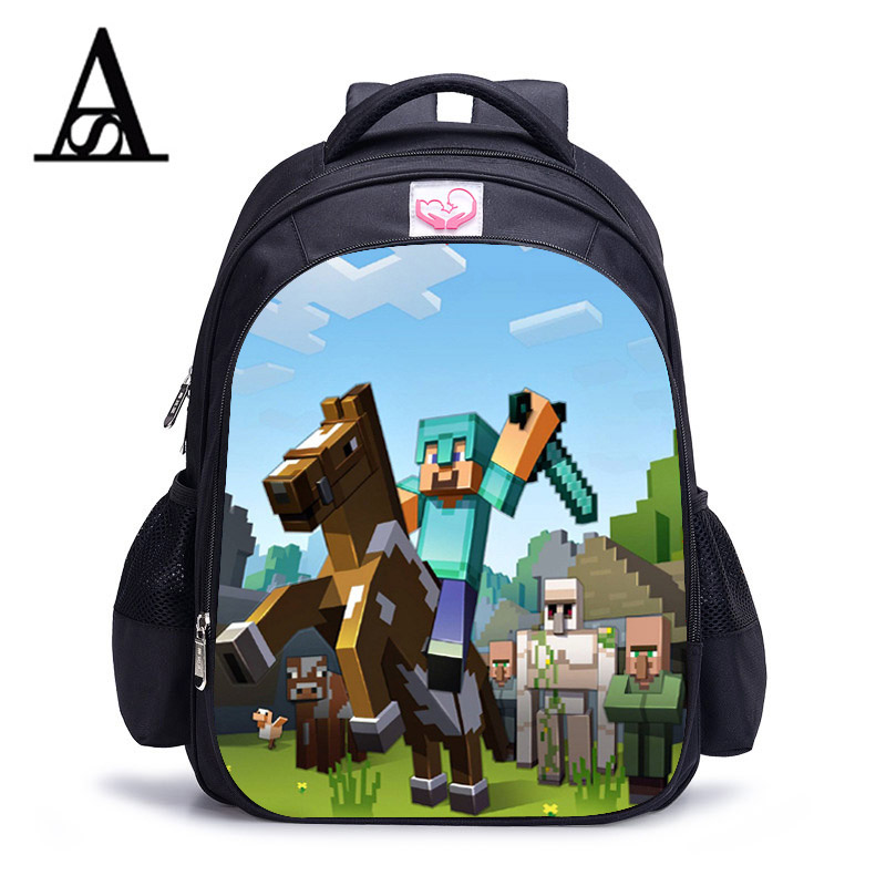 Children School Bag Minecraft Cartoon Backpack Pupils Printing School Bags Hot Game Backpacks For Boys And Girls Mochila Escolar cute cartoon women bag flower animals printing oxford storage bags kawaii lunch bag for girls food bag school lunch box z0