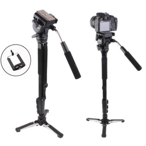 Yunteng 288 Camera Monopod + Fluid Pan Tripod Head + Unipod Holder For Canon Nikon Camera 3 section Extendable