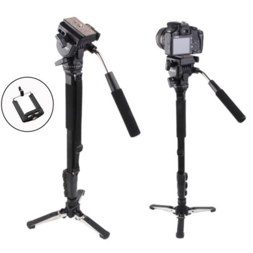 Yunteng 288 Kamera Einbeinstativ + Flüssigkeit Pan Stativkopf + Einbeinstativ Halter Für Canon Nikon Kamera 3 abschnitt Erweiterbar