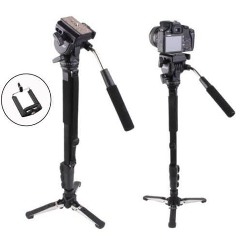 Yunteng 288 Trípode de Cámara Monopod + Fluid Pan Head + Holder Para Canon Nikon Cámara Unipod 3 sección Extensible