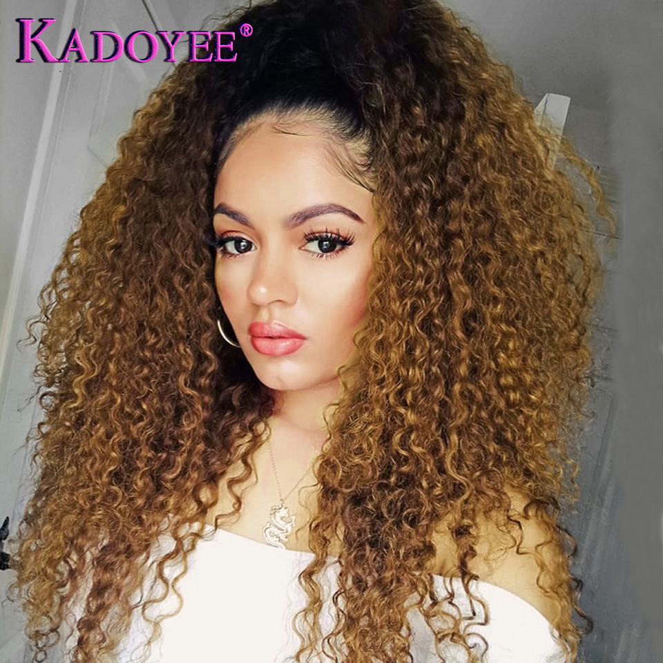 New Brazilian Kinky Curly With Pre Plucked Hairline Lace Front Human Hair Wigs Ombre 1B 30